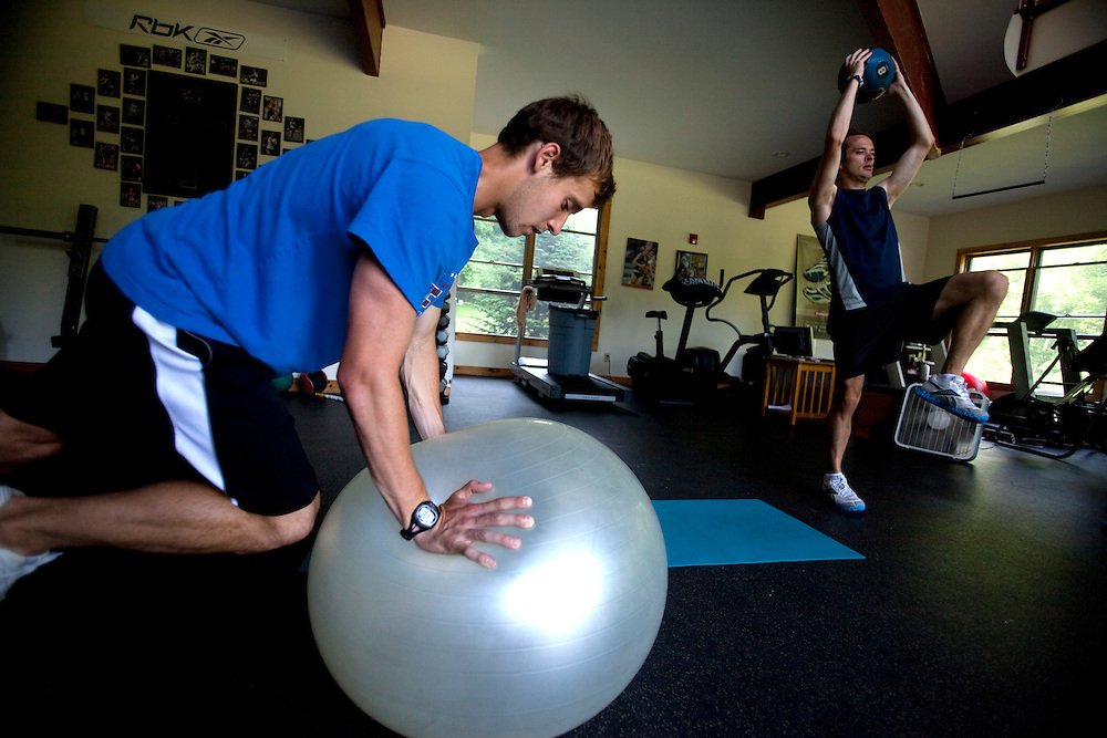 Zap Fitness athletes Cole Atkins and Joe Driscoll go through a workout at the training center in Blowing Rock, NC..