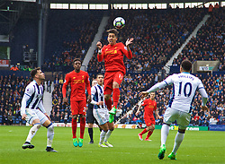 WEST BROMWICH, ENGLAND - Easter Sunday, April 16, 2017, 2016: Liverpool's Roberto Firmino in action against West Bromwich Albion during the FA Premier League match at the Hawthorns. (Pic by David Rawcliffe/Propaganda)
