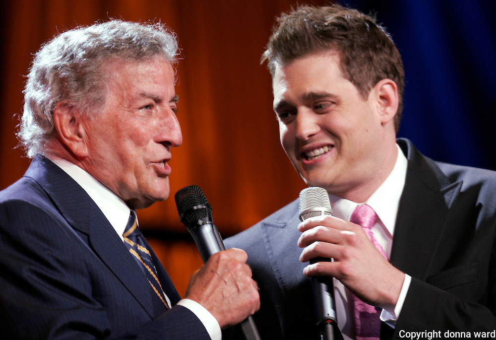 "Tony Bennett and Michael Buble perform at the 106.7 Lite FM ""One Night With Lite"" concert at the Theater at Madison Square Garden on Tuesday, September 26, 2006 in New York."