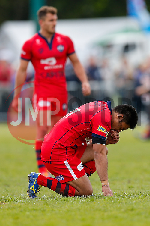 Bristol Rugby Winger David Lemi takes a moment after Bristol Rugby win the match to advance to the play off final - Photo mandatory by-line: Rogan Thomson/JMP - 07966 386802 - 10/05/2015 - SPORT - RUGBY UNION - Abbeydale Park, Sheffield - Rotherham Titans v Bristol Rugby - Greene King IPA Championship Play Off Semi Final Second Leg.