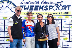 Ladismith Cheese 7Weekspoort MTB Challenge women's 82km podium. From left to right: Ronaldo Groenewald (CEO Ladismith Cheese), Alma Colyn (3rd), Yolande de Villiers (1st) and Shani Morton (Western Province Cycling). Not pictured: Fienie Barnard (2nd). On the 1st October 2016<br /> <br /> Photo by:    /Oakpics/ SPORTZPICS<br /> <br /> <br /> {dem16gst}