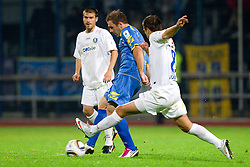 Mitja Zatkovic of Domzale vs Dragan Cadikovski of Celje during the football match between NK Domzale and MIK CM Celje, played in the 10th Round of Prva liga football league 2010 - 2011, on September 22, 2010, Spors park, Domzale, Slovenia. Domzale defeated Celje 1 - 0. (Photo by Vid Ponikvar / Sportida)