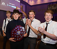 Repro Free: 16/05/2017  The EA Robot Games Ireland competition saw 550 students, from 25 schools across the country, battling 184 robots for the ultimate prize. The competition is sponsored by EA Games &amp; Bank of Ireland and run by Colmac Robotics. Ethan Dolan (with trophy) and classmates from Villiers of Limerick, retained the title that the the school  claimed last year of Mini Sumo Robot Champion 2017 at the Radisson Blu Hotel in Galway.  <br /> .  Photo:Andrew Downes, xposure