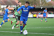 AFC Wimbledon attacker Harry Forrester (11) dribbling during the EFL Sky Bet League 1 match between AFC Wimbledon and Plymouth Argyle at the Cherry Red Records Stadium, Kingston, England on 21 October 2017. Photo by Matthew Redman.