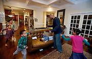 Shaun Alexander dances plays with his children in their home in Great Falls, VA. January 21, 2014.