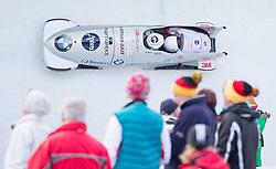 13.02.2016, Olympiaeisbahn Igls, Innsbruck, AUT, FIBT WM, Bob und Skeleton, Zweierbob Herren, 2. Lauf, im Bild Oskars Melbardis und Daumants Dreiskens (LAT) // Oskars Melbardis and Daumants Dreiskens of Latvia competes during two men Bobsleigh 2nd run of FIBT Bobsleigh and Skeleton World Championships at the Olympiaeisbahn Igls in Innsbruck, Austria on 2016/02/13. EXPA Pictures © 2016, PhotoCredit: EXPA/ Johann Groder
