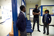 Harrison Barns visits the Barack Obama Male Leadership Academy in Dallas, Texas on May 16, 2017. (Cooper Neill for The Players Tribune)