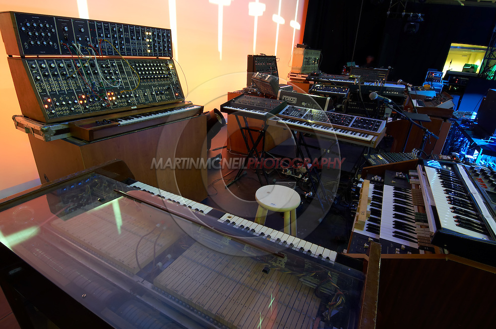 Musician Dominique Perrier's bank of synthesizers