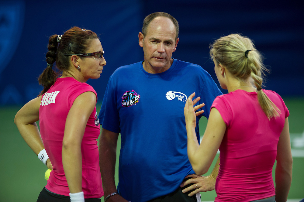 IRVING, TX - JULY 10:  Texas Wild head coach Brent Haygarth has words with his women's doubles team members, Darija Jurak and Eugenie Bouchard, during a timeout against the Washington Kastles on July 10, 2013 at the Four Seasons Resort and Club in Irving, Texas.  (Photo by Cooper Neill/Getty Images) *** Local Caption *** Brent Haygarth; Darija Jurak;