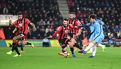David Silva of Manchester City gets a shot off on goal. - Mandatory by-line: Alex James/JMP - 13/02/2017 - FOOTBALL - Vitality Stadium - Bournemouth, England - Bournemouth v Manchester City - Premier League