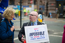 © Licensed to London News Pictures. 04/10/2017. Manchester, UK.  Andrea Leadsom speaking to a protester at the demonstration on the final day of the Tory Party Conference. The protest was as part of the Take Back Manchester festival to protest the conference taking part in the city.  Photo credit: Steven Speed/LNP