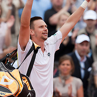 31 May 2009: Robin Soderling of Sweden celebrates following his victory against Rafael Nadal during the men's Singles fourth round match on day eight of the French Open at Roland Garros in Paris, France.