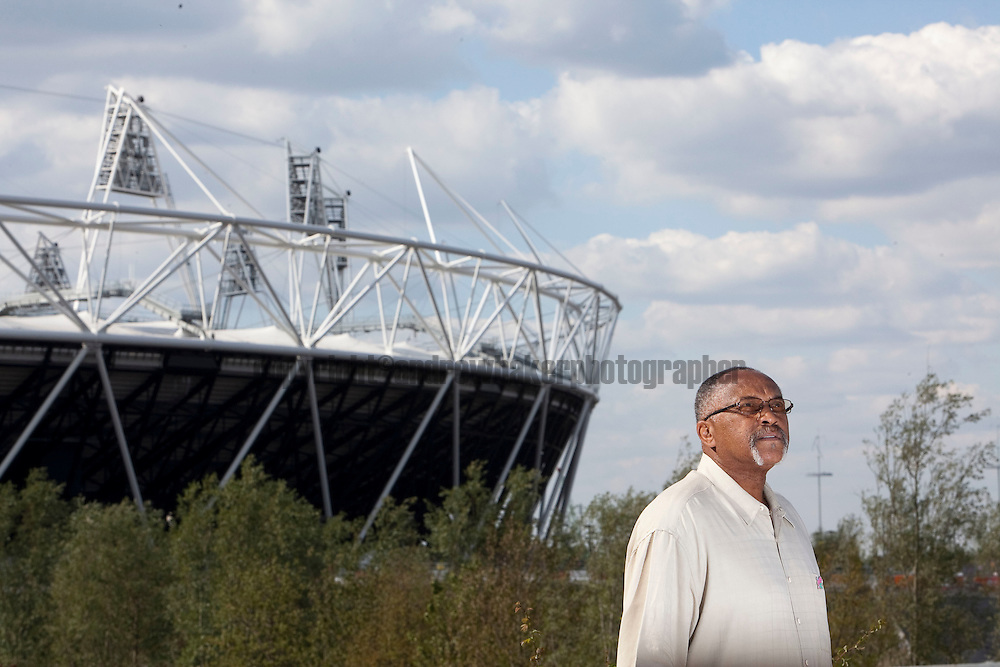 Tommie Smith, 200m Gold Medallist for the 1968 Olympic Games, on a visit to the London 2012 Olympic Stadium. 9th Aug 2011 .©Andrew Baker Photographer.07977074356