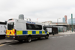 © Licensed to London News Pictures. 21/03/2019. London, UK.  A police van seen next to the tracks outside Stratford station this morning. Two people were found dead on the Overground Railway track between Stratford and Hackney Wick last night.  Photo credit: Vickie Flores/LNP