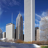 Chicago Architectural Photographer Wayne Cable captured the view from Millennium park with the Aon Center and Prudential Buildings for AON with precise Chicago Architectural Photography.