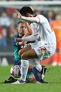 Picture by David Horn/Focus Images Ltd +44 7545 970036.25/09/2012.Lee Cattermole, Captain of Sunderland is sent off for this challenge on  Adam Chicksen of Milton Keynes Dons during the Capital One Cup match at stadium:mk, Milton Keynes.