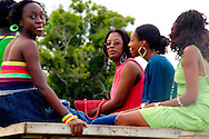 Women in a horse cart in Sandino, Pinar del Rio, Cuba.