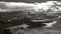 A black and white image of the Green River overlook in Canyonlands National Park, Utah.
