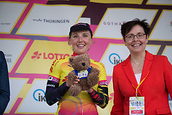 Lisa Brennauer (GER) of CANYON//SRAM Racing celebrates wearing the overal leader's jersey after winning the prologue of the Lotto Thuringen Ladies Tour - a 6.1 km individual time trial, starting and finishing in Gera on July 12, 2017, in Thuringen, Germany. (Photo by Balint Hamvas/Velofocus.com)