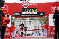 Ben Dijkstra of the East Midlands crosses the finishing line to win the under 17 boys race in the Virgin Giving Mini London marathon , Sunday 26th April 2015.<br /> <br /> Scott Heavey for Virgin Money London Marathon<br /> <br /> For more information please contact Penny Dain at pennyd@london-marathon.co.uk