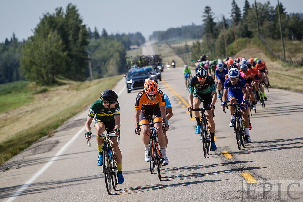 SPRUCE GROVE, ALBERTA, CAN - September 2: The front of the field starts to splinter with riders up the road during stage 2 of the Tour of Alberta on September 2, 2017 in Spruce Grove, Canada. (Photo by Jonathan Devich)