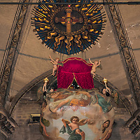 MILAN, ITALY - SEPTEMBER 11: The Nivola reaching the place where the Santo Chiodo is kept during the 'Rito della Nivola' celebrations at Duomo on September 11, 2010 in Milan, Italy. Once a year the archbishop of Milan ascends to the ceiling of the Duomo in a basket painted with clouds (Nivola) to collect The Santo Chiodo (Holy Nail) that is purportedly from the Cross of Jesus....***Agreed Fee's Apply To All Image Use***.Marco Secchi /Xianpix. tel +44 (0) 207 1939846. e-mail ms@msecchi.com .www.marcosecchi.com