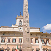 6th century BC Egyptian Obelisk and Palazzo Montecitorio at Piazza di Montecitorio, Rome, Italy