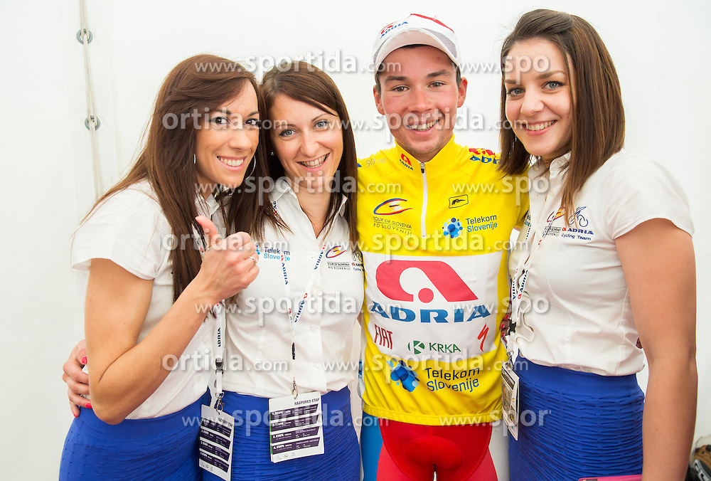ROGLIC Primoz (Slovenia) of Adria Mobil, overall winner in yellow jersey celebrates after the Stage 4 of 22nd Tour of Slovenia 2015 from Rogaska Slatina to Novo mesto (165,5 km) cycling race  on June 21, 2015 in Slovenia. Photo by Vid Ponikvar / Sportida
