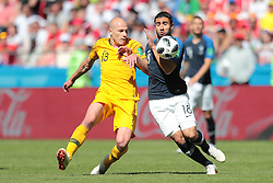 June 16, 2018 - Kazan, Kazan, France - midfielder Aaron Mooy of Australia National team and forward Nabil Fekir of France National team duringa  Group C 2018 FIFA World Cup soccer match between France and Australia on June 16, 2018, at the Kazan Arena in Kazan, Russia. (Credit Image: © Anatolij Medved/NurPhoto via ZUMA Press)