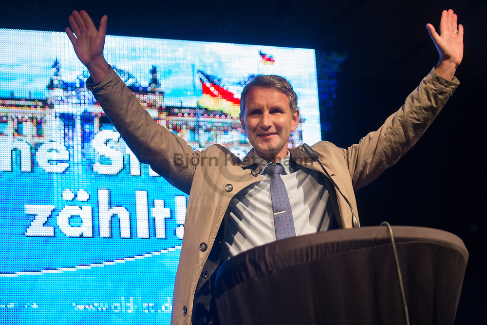 Magdeburg, Germany - 12.09.2017<br /> <br /> Election rally of the far rightwing Alternative for Germany (AfD) in Magdeburg.<br /> <br /> Bjoern Hoecke, AfD-Fraktionsvorsitzender imt thueringer Landtag. Wahlkampfkundgebung der Alternative fuer Deutschland (AfD) in Magdeburg.<br /> <br /> Photo: Bjoern Kietzmann