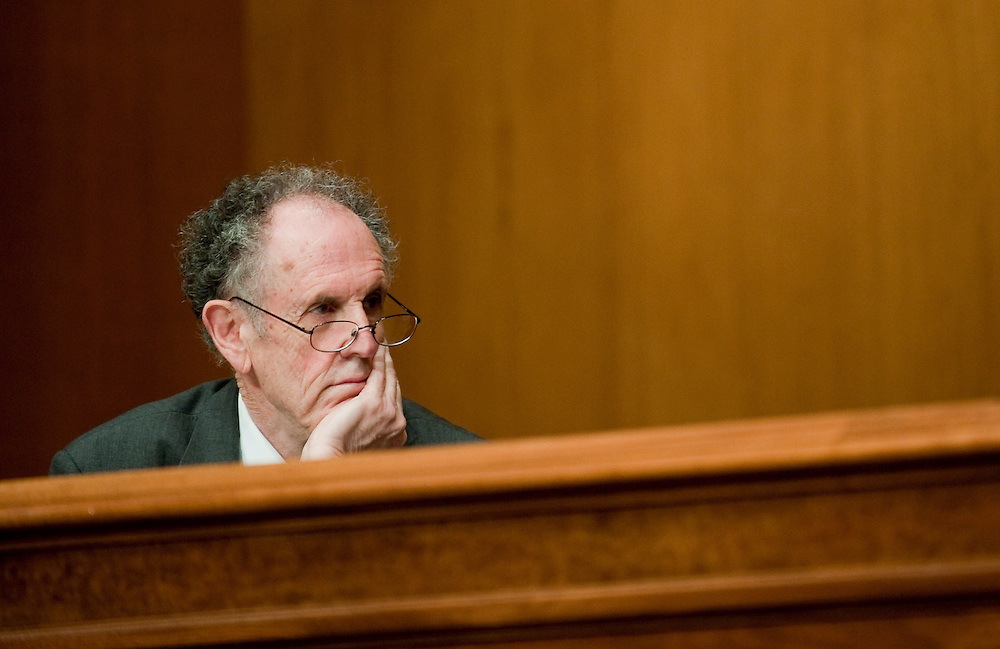 """Apr 13,2010 - Washington, District of Columbia USA -.Senator Ted Kaufman, D-Del, and  member of the The Senate Investigations Subcommittee asks questions during a hearing on """"Wall Street and the Financial Crisis: The Role of High Risk Home Loans."""" (Credit Image: © Pete Marovich/ZUMA Press)"""