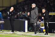 Manchester United manager Jose Mourinho in the technical area during the The FA Cup 4th round match between Yeovil Town and Manchester United at Huish Park, Yeovil, England on 26 January 2018. Photo by Graham Hunt.