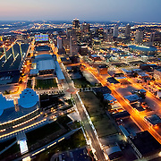 Downtown Kansas City, Missouri skyline aerial view at dusk, Kauffman Center for the Performing Arts in foreground.