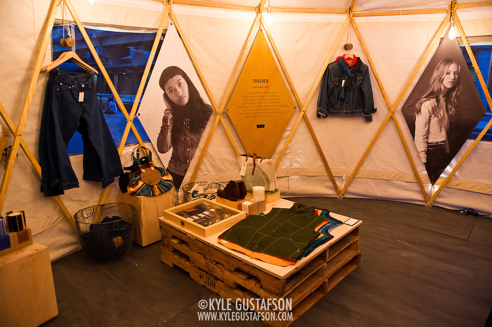Levi's goods for sale at the Station to Station tour, an artist-driven public art project made possible by Levi's.