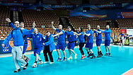 Katowice, Poland - 2017 September 03: SO Finland team celebrate after final match between SO Russia and SO Finland during European Unified Volleyball Tournament 2017 at Spodek Hall on September 03, 2017 in Katowice, Poland.<br /> <br /> Adam Nurkiewicz declares that he has no rights to the image of people at the photographs of his authorship.<br /> <br /> Picture also available in RAW (NEF) or TIFF format on special request.<br /> <br /> Any editorial, commercial or promotional use requires written permission from the author of image.<br /> <br /> Image can be used in the press when the method of use and the signature does not hurt people on the picture.<br /> <br /> Mandatory credit:<br /> Photo by © Adam Nurkiewicz / Mediasport