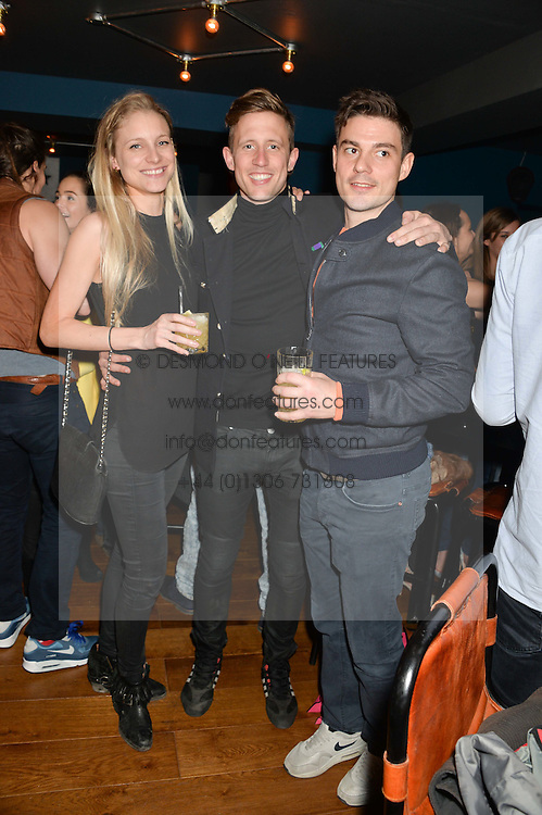 Left to right, ALEX SHAW, GEORGE FROST and JASON DE SAVARY at the opening party of MODE nightclub, 12 Acklam Road, London on 4th April 2014.