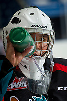 KELOWNA, CANADA - SEPTEMBER 5: James Porter #1 of the Kelowna Rockets stands at the bench against the Kamloops Blazers on September 5, 2017 at Prospera Place in Kelowna, British Columbia, Canada.  (Photo by Marissa Baecker/Shoot the Breeze)  *** Local Caption ***