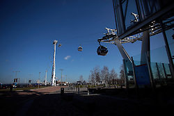 UK ENGLAND LONDON 27FEB15 - View of the Emirates Air Line cable car across the river Thames, London. Operated by Transport for London, the service comprises a 1-kilometre (0.62 mi) gondola line that crosses the Thames from the Greenwich Peninsula to the Royal Docks. <br /> <br /> jre/Photo by Jiri Rezac<br /> <br /> &copy; Jiri Rezac 2015