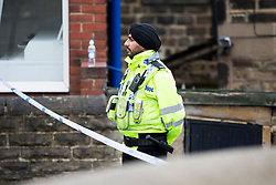 © Licensed to London News Pictures. 17/06/2016. Birstall UK. Police at the scene in Birstall market place this morning where MP Jo Cox was murdered yesterday. Photo credit: Andrew McCaren/LNP
