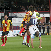 Partick Thistle's Daniel Seaborne downs Dundee's James McPake to concede a penalty - Dundee v Partick Thistle, SPFL Premiership at Dens Park<br /> <br />  - &copy; David Young - www.davidyoungphoto.co.uk - email: davidyoungphoto@gmail.com