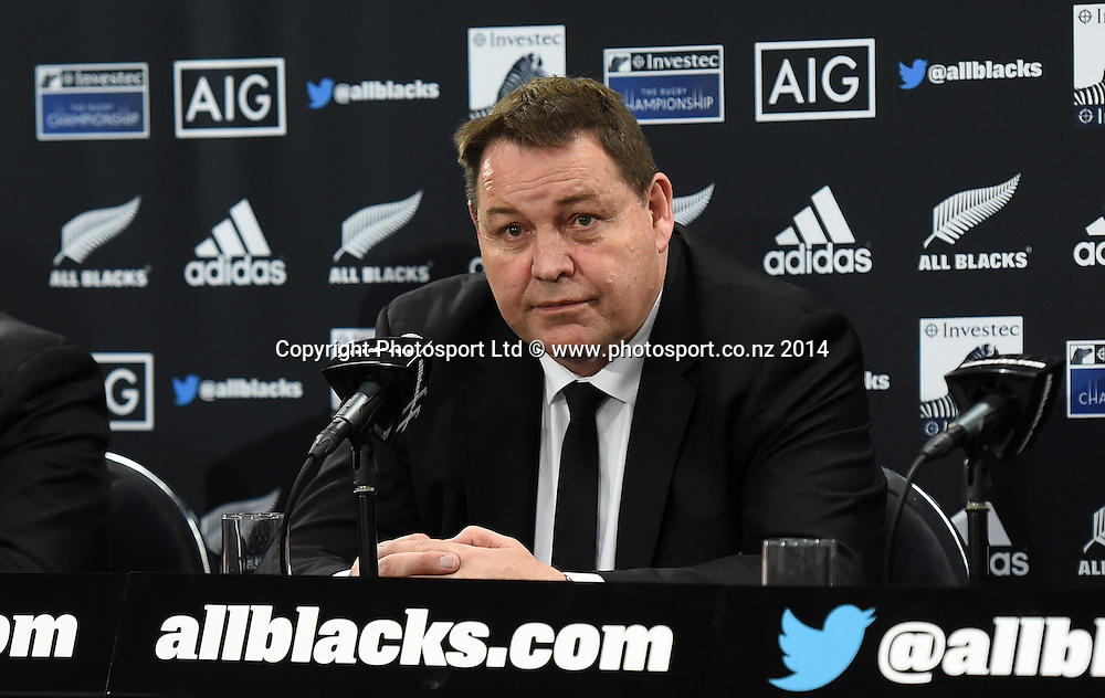 Steve Hansen at the post match press conference. New Zealand All Blacks versus South Africa Springboks. The Rugby Championship. Rugby Union Test Match. Wellington. New Zealand. Saturday 13 September 2014. Photo: Andrew Cornaga/www.Photosport.co.nz