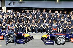 24.11.2011, Autodromo Jose Carlos Pace, Sao Paulo, BRA, F1, Grosser Preis von Brasilien, im Bild Mark Webber (AUS), Red Bull Racing - Sebastian Vettel (GER), Red Bull Racing // during the Formula One Championships 2011 Grand Prix of Brazil held at the Autodromo Jose Carlos Pace, Sao Paulo, Barzil on 2011/11/24..***** ATTENTION - OUT OF GER, CRO *****