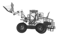 X-ray image of a loader (black on white) by Jim Wehtje, specialist in x-ray art and design images.