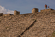 Steps leading to the north platform of Monte Albán pre-Columbian archaeological site in the Santa Cruz Xoxocotlán, Oaxaca, Mexico.