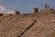 Steps leading to the north platform of Monte Albán pre-Columbian archaeological site in the Santa Cruz Xoxocotlán, Oaxaca, Mexico.