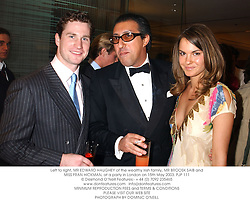 Left to right, MR EDWARD HAUGHEY of the wealthy Irish family, MR BROOSK SAIB and MISS FRAN HICKMAN, at a party in London on 15th May 2003.	PJP 111