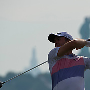 August 23, 2013:   Scott Stallings (USA) tees-off at the 15th hole with the Statue of Liberty over his shoulder during the continuation of the first round of The Barclays Fed Ex  Championship at Liberty National Golf Course in Jersey City, NJ.  Kostas Lymperopoulos/csm  (Credit Image: © Kostas Lymperopoulos/Cal Sport Media)
