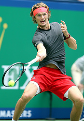 SHANGHAI, Oct. 12, 2018  Alexander Zverev of Germany hits a return during the men's singles quarterfinal match against Kyle Edmund of Britain at the Shanghai Masters tennis tournament in Shanghai, east China on Oct. 11, 2018. (Credit Image: © Fan Jun/Xinhua via ZUMA Wire)