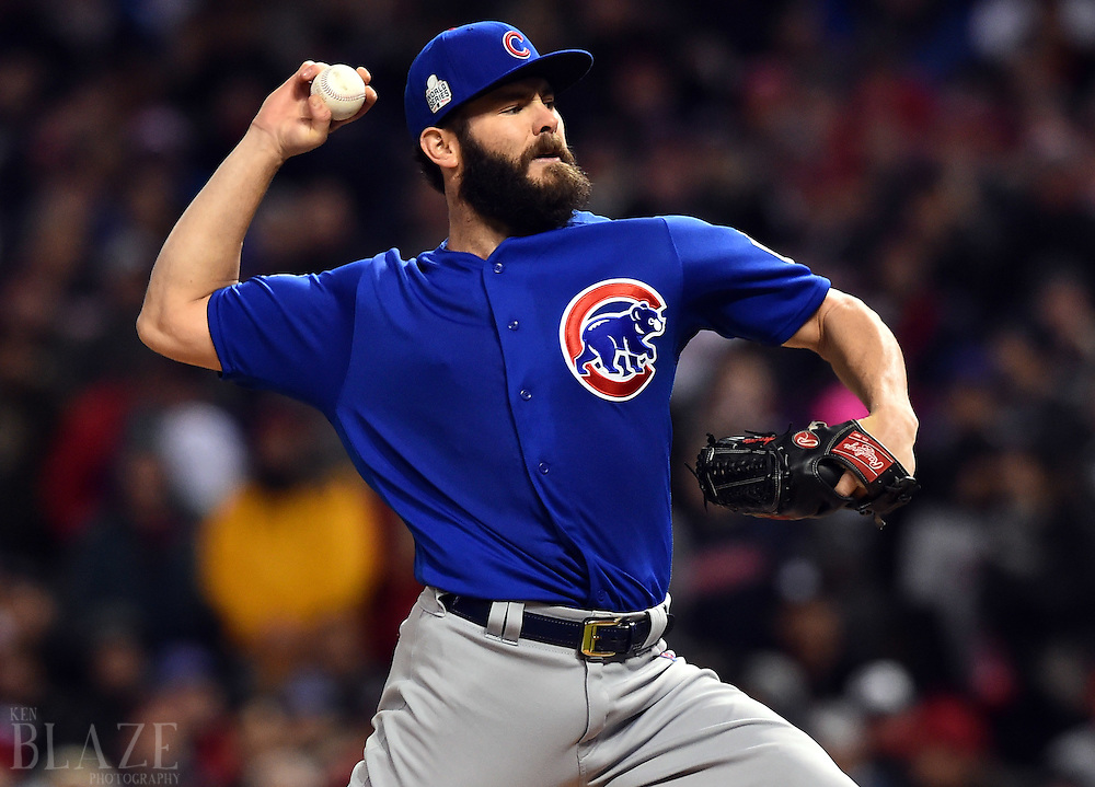 Oct 26, 2016; Cleveland, OH, USA; Chicago Cubs starting pitcher Jake Arrieta throws a pitch against the Cleveland Indians in the first inning in game two of the 2016 World Series at Progressive Field. Mandatory Credit: Ken Blaze-USA TODAY Sports