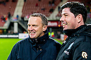 ALKMAAR - 20-02-2016, AZ - FC Groningen, AFAS Stadion, 4-1, AZ trainer John van den Brom, FC Groningen trainer Erwin van der Looi.